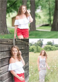 A beautiful senior portrait session in a natural setting with a gorgeous curly haired senior. Photographed by Bishop McDevitt senior photographer Tina Jay Photography in Mechanicsburg Pennsylvania.