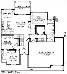 Ranch Style House Plan - 3 Beds 2.5 Baths 1800 Sq/Ft Plan #70-1266 Floor Plan - Main Floor Plan - Houseplans.com