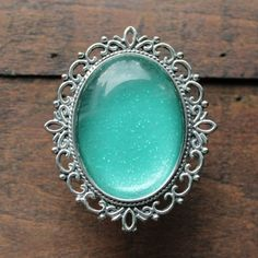 Oval Silver Drawer Knobs Glitter Series Nr. 6 Turquoise (MK142)