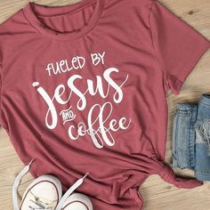 Women Summer Basic Red Tee By Jesus And Coffee Printed Short Sleeve T Shirt Casual O-Neck Tees Girl Letter Fueled Top Jesus Shirts, Mom Shirts, Cute Shirts, T Shirts For Women, Funny Shirts, Christian Clothing, Christian Shirts, Christian Apparel, Womens Fashion