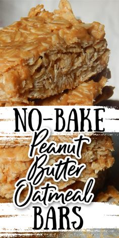 These soft, chewy, peanut buttery bars are the perfect no-bake treat! Only a handful of ingredients that you probably have in your pantry right now! No Bake Snacks, No Bake Treats, No Bake Desserts, Yummy Treats, Delicious Desserts, Peanut Butter Oatmeal Bars, Bar Recipes, Rice Krispie Treats, Dessert Bars