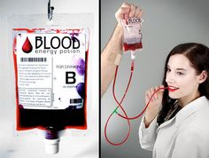Fruit punch energy drink comes in a transfusion-style blood bag.