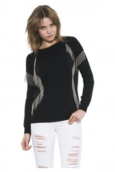 Xena Pullover by one grey day- Xena represents the warrior princess she is named after. Strong style lines etched in black tape and metal chain fringe give her both movement and attitude. Warrior Princess, Attitude, Pullover, Hoodies, Metal Chain, Fall 2015, Grey, Tape, Sweaters