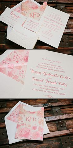 Gus & Ruby Letterpress submitted this gorgeous custom wedding suite for Kasey and Daniel's May wedding. We digitally printed the watercolor invitation sleeve and envelope liners, which featured romantic flowers in varying shades of pink. A letterpress printed invitation, reply card, and website card were tucked into the sleeve, which included a letterpress printed monogram. We also …