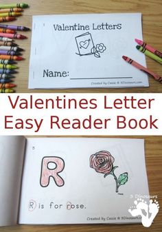 FREE ABC Themed Valentines Easy Reader Book - 10 page book - http://3Dinosaurs.com