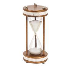 Benzara Metal/ Glass 13-inch 60-minute Hourglass (Metal/Glass 60 Minutes Hourglass), Black (Acacia)