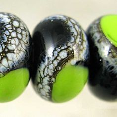 Handmade Glass Lampwork Beads Set of 6 Silvered by SpawnOfFlame, $14.30