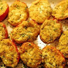 Pastor Ryan's Roasted Ricotta Roma Tomatoes Recipe with roma tomatoes, flat leaf parsley, fresh basil, garlic, clove, ricotta cheese, Ritz Crackers, kosher salt, olive oil
