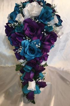 Teal and Plum Purple Rose and Groom Silk Wedding Flowers Set Cascade Faux Diamonds Bridal Bouquet - Hochzeit Wedding Ceremony Ideas, Wedding Table, Wedding Day, Wedding Shoes, Reception, Wedding Jewelry, Wedding Dress, Wedding Rings, Wedding Veils