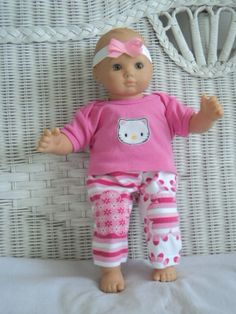 Bitty Baby Girl cute 3  pc Pink My Kitty  pants  Outfit ,     doll clothes on Etsy, $13.00