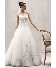 Oleg Cassini One Shoulder Tulle Ball Gown with Lace Appliques S 14