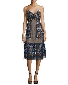 Sleeveless+Mixed-Lace+Midi+Dress,+Navy/Black/Nude+by+Self+Portrait+at+Neiman+Marcus.