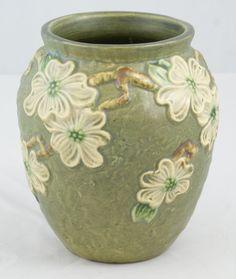 """Roseville pottery vase, textured dogwood, 6 1/8"""" h, early RV mark, c 1925"""