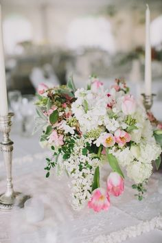 Wedding centerpiece - white and pink color