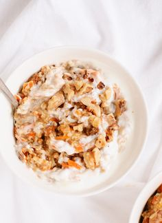 Morning glory oatmeal with carrots, raisins and coconut.