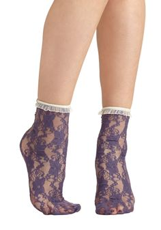 Lithe Is But a Dream Socks in Violet. Skip through your day feeling graceful and carefree in these darling lace socks! #purple #modcloth