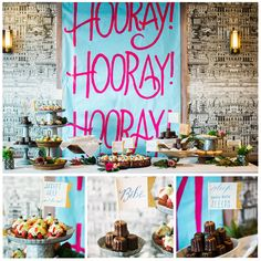 Hooray, Hooray, Hooray! This Dessert Scape for the WIN! Vibrant shades in the fabulous Paris Room at La Table set the scene for a Trés Chic Bébé Shower brought to you by our Friday Friend @littlecoterie !  #BabyShower #BabyGirlShower #DessertScape #Banner