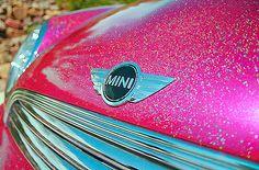 pink glitter mini cooper