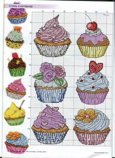 pretty cupcakes charts...only this to print out...NO color guide, nor all the photos to match the charts
