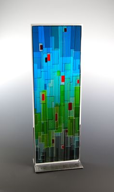"""Commission Sculpture Kiln formed and cold worked glass with steel base 31"""" x 10"""" x 4"""" 2010 morgan madison"""