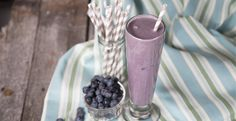 Blueberry Oatmeal Smoothie by Blendtec   unsweetened almond milk   banana   rolled oats   raw almonds   stevia   frozen blueberries