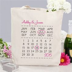 Our #Personalized #Wedding Day Canvas Tote Bag is a great way to remember the wonderful occasion