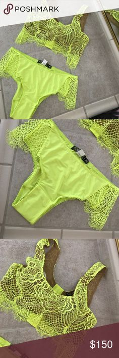 Highlighter Yellow For Love and Lemons Set! NWOT! NWOT For Love and Lemons Skivvies Set. Both are a size Medium. Both are highlighter yellow. Too big for me. 👎🏼😥 Panties still have protective liner in them. For Love and Lemons Intimates & Sleepwear