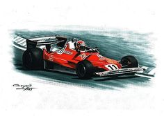 1977 Ferrari 312 T2,  Niki Lauda,  Carlos Reutemann.  Ferrari F1 collection ART by Artem Oleynik. This collection demonstrating Ferrari F1 racing cars since 1950 to 2016 and includes 96 pictures in oil on canvas. The size of each original picture is 25 x 35 cm.