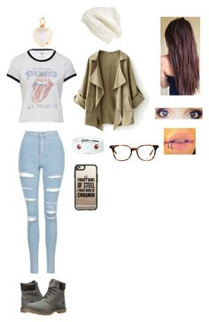 """Recording  (Nathaly)"" by natsukidragneel ❤ liked on Polyvore featuring Topshop, Timberland, Loquet, King & Fifth Supply Co., Puella, Casetify and Ray-Ban"