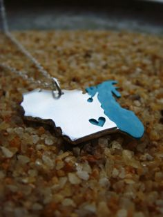 Wisconsin and Lake Michigan Love Necklace
