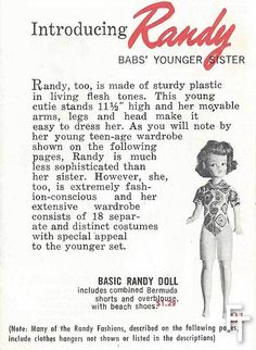 Babs' little sister Randy who is a copy of  Miss What's new? Tammy!