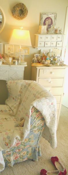 Cottage style bedroom with comfy reading chair and slippers ~ (our home)
