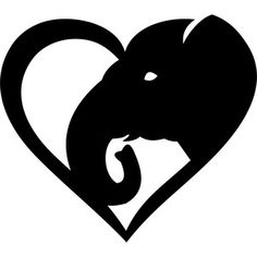 Silhouette Design Store: elephant heart