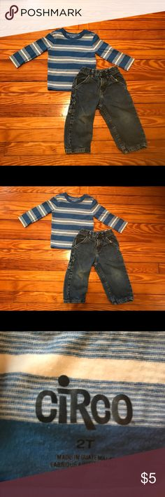 2T outfit set Blue striped Circo shirt with Wrangler jeans Circo Matching Sets