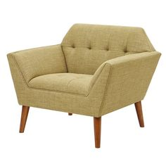 Midcentury Modern Mid Century Modern Light Brown Upholstery Button Tufted Lounge Accent Chair with Dowel Wood Legs - Includes Modhaus Living (TM) Pen Living Room Modern, Living Room Chairs, Living Room Furniture, Joss And Main Furniture, Living Rooms, Mid Century Modern Furniture, Midcentury Modern, Upholstered Dining Chairs, Tufted Armchair