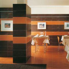 Fioranese | Colorlab #fioranese #ceramicafioranese #madeinitaly #tiles #porcelaintile #floor #brown #orange #indoor #design #tilescolors #colours #wall #restaurant