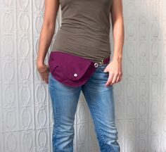 Belt Bag in Bright Plum Cotton : Fanny Pack, Hip Bag