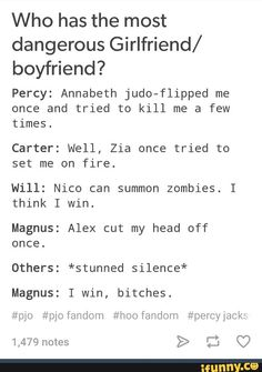 Um... Wow... Okay. I thought Annabeth would win for sure, but yeah... Oh my gODS NOOOO SPOILERS I'M ONLY ON SWORD OF SUMMER
