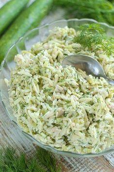 Sałatka z ogórkiem, koperkiem i drobiową wędliną Orzo Recipes, Veg Recipes, Other Recipes, Appetizer Recipes, Salad Recipes, Cooking Recipes, Healthy Recipes, B Food, Slow Food