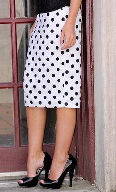 Solid midi length polka dot pencil skirts with banded waist