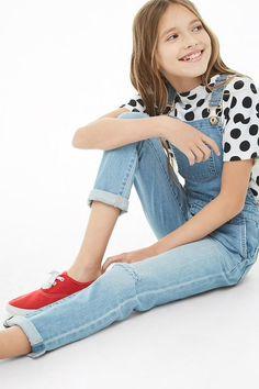 Girls Denim Ripped-Knee Overalls (Kids)