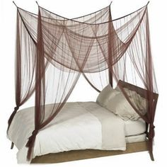 How can you resist? Make your bedroom a romantic haven by adding a luxuriously soft four-point mosquito net canopy overhead. You can make any old bed a four-poster canopy bed. You can even hang it on top of an existing four-poster canopy bed if you'd like 4 Poster Bed Canopy, Canopy Bed Drapes, Diy Canopy, Bed Canopies, Tulle Canopy, Canopy Frame, Sheer Drapes, Drapery, Old Beds