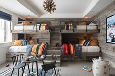 The kids wont mind going to bed early or sleeping in, with this amazing bunk room to themselves. Bunk Bed Rooms, Bunk Beds Built In, Bunk Beds With Stairs, Cabin Bunk Beds, Home Design, Bunk Bed Designs, Cabin In The Woods, Mountain Cabin Decor, Sr1