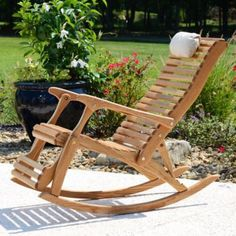 Sittin Easy Oak Wooden Reclining Rocking Chair - 34