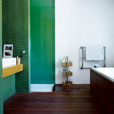 Modern bathroom in natural colors.  (featured in LivingEtc, pictures Chris Everard)
