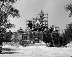 Construction of Sleeping Beauty Castle at Disneyland park. Image taken two months before Opening Day on July 17, 1955.