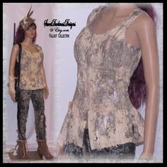 Post APOCALYPTIC TOP Mad Max Top Ivory Fallout Top Distressed Top 3D Finish Size MEDIUM Wasteland Apocalypse Clothing by WastelandWearable by WastelandWearable on Etsy