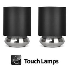 From 19.99 Pair Of - Modern Chrome Touch Table Lamps With Black Shades