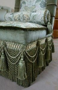 Slipper Chair With Tassels And Bullion Fringe Passementerie Unique Furniture, Shabby Chic Furniture, Rustic Furniture, Home Furniture, Furniture Design, Furniture Removal, Cheap Furniture, Rideaux Design, Pastel Interior