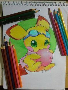 Ilustração , pikachu chiba -Edi santos Illustration, chibi pikachu- Edi santos